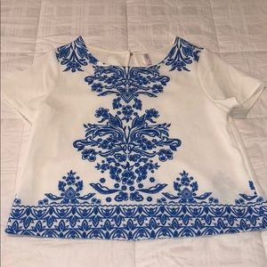 White and blue crop top from target